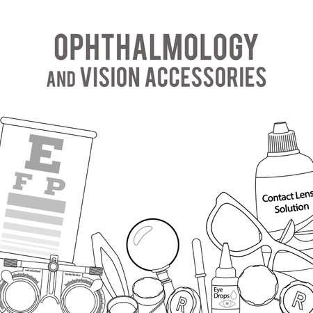 正しいビジョン - コンタクト レンズ、ソリューション、レンズ ケース目テストチャート、眼鏡の検眼医療アクセサリーのセットです。ベクトル