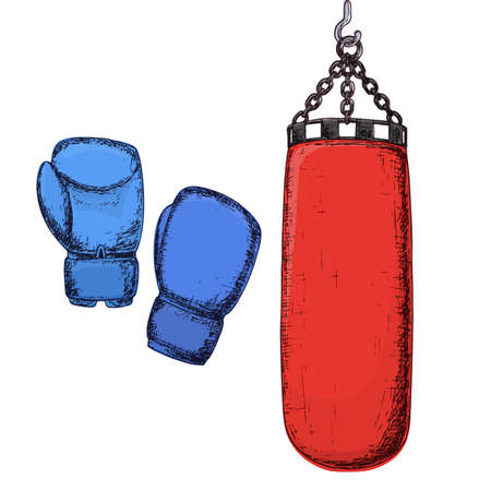 Punching bag and boxing gloves, cartoon illustration of gym equipment for home exercise. Vector Illustration
