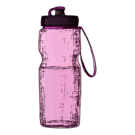 Fitness water bottle, cartoon illustration of gym equipment for home exercise. Vector