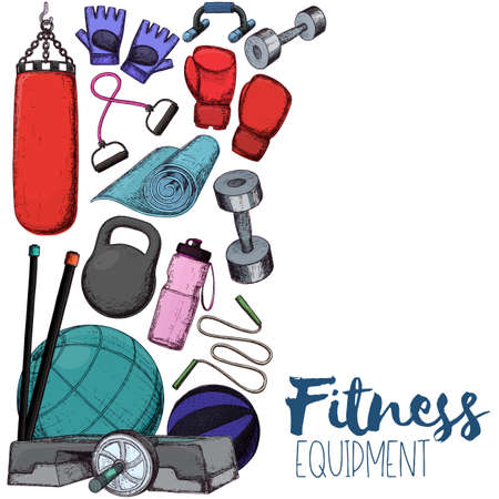 Set of fitness accessories, sketch cartoon illustration of gym equipment for home exercise Vector