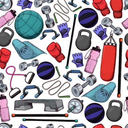 Seamless pattern of fitness accessories, sketch cartoon illustration of gym equipment for home exercise. Vector Illustration