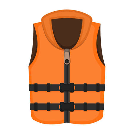 Life vest on white background, cartoon illustration of beach accessories for summer holidays. Illustration