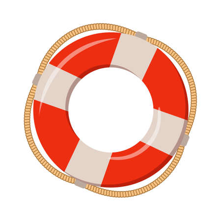 Boia salva-vidas no fundo branco, ilustração dos desenhos animados de acessórios da praia por férias de verão.