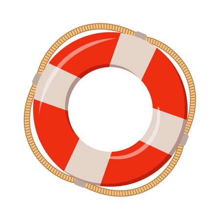 Koło ratunkowe na białym tle, ilustracja kreskówka akcesoriów plażowych na letnie wakacje.