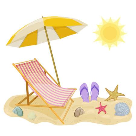 白い背景にビーチの傘とラウンジチェア、夏休みのためのビーチアクセサリーの漫画のイラスト。