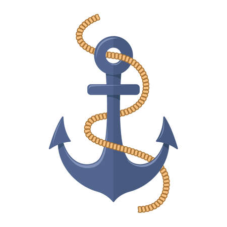 Sea anchor on white background, cartoon illustration of accessory for water transport.
