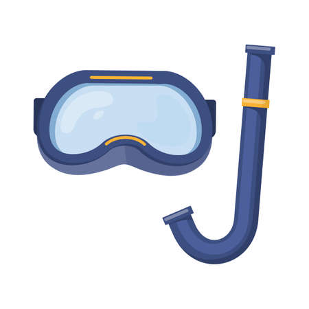 Scuba diving mask on white background, cartoon illustration of beach accessories for summer holidays.