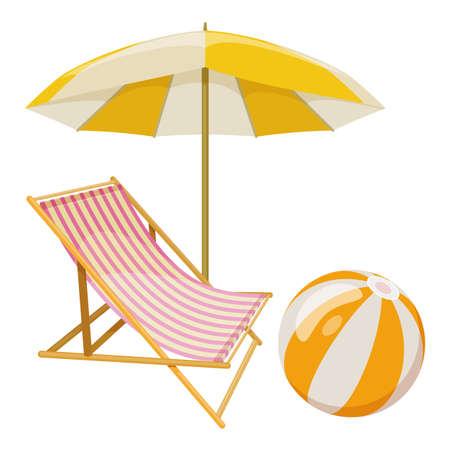 白い背景にビーチの傘とラウンジチェア、夏休みのためのビーチアクセサリーの漫画のイラスト。ベクトル