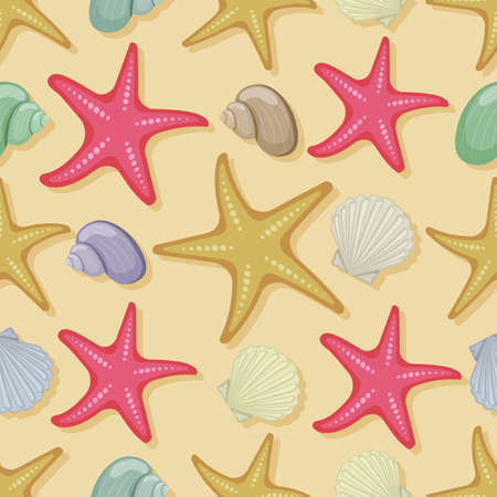 Seamless pattern shells and starfish on white background, cartoon illustration of beach summer background. Vector. Illustration