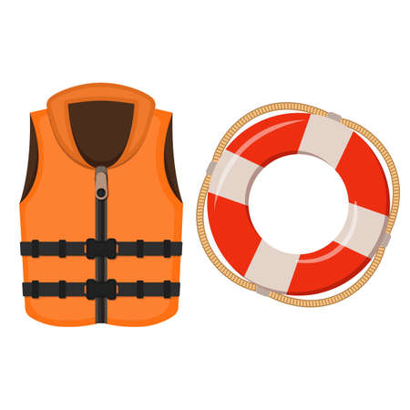 Life jacket and life buoy on white background, cartoon illustration of beach accessories for summer holidays. Vector.