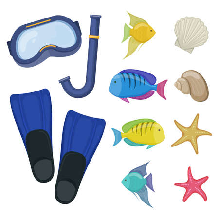 Diving mask and flippers on white background, cartoon illustration of beach accessories for scuba diving. Vector.
