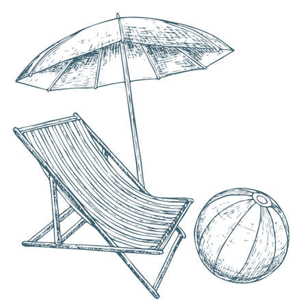 Beach umbrella and lounge chair on white background, cartoon illustration of beach accessories for summer holidays. Vector Standard-Bild - 93709984