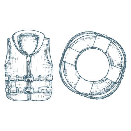 Life jacket and life buoy on white background, cartoon illustration of beach accessories for summer holidays. Vector  イラスト・ベクター素材