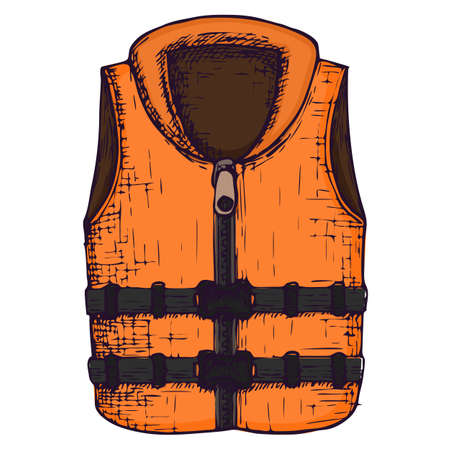 Life vest on white background, cartoon illustration of beach accessories for summer holidays. Vector