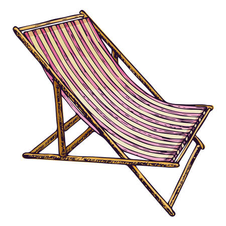 Beach lounge chair on white background, cartoon illustration of beach accessories for summer holidays. Illustration