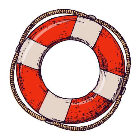 白い背景にライフブイ、夏休みのためのビーチアクセサリーの漫画のイラスト。ベクトル  イラスト・ベクター素材