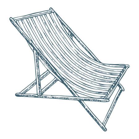 Encalhe a cadeira de sala de estar no fundo branco, ilustração dos desenhos animados de acessórios da praia por férias de verão. Vetor