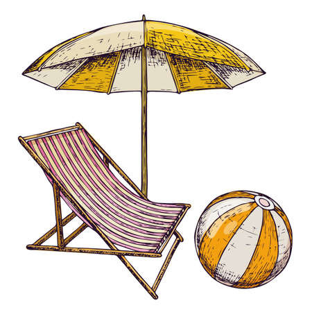 Beach umbrella and lounge chair on white background, cartoon illustration of beach accessories for summer holidays. Vector Illustration