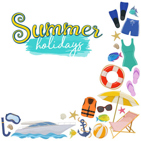 Set of beach summer holidays accessories, cartoon vector illustration.