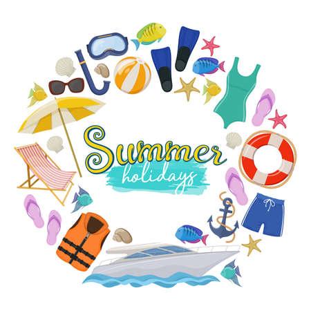 Set of beach summer holidays accessories, cartoon illustration.