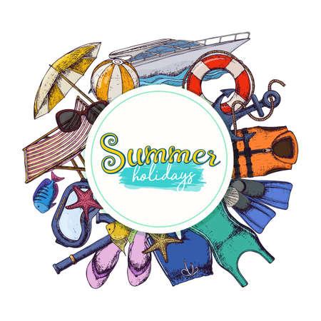 Set of beach summer holidays accessories, sketch cartoon illustration. Illustration