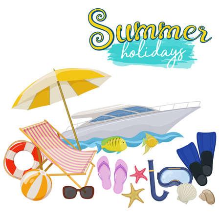 Set of beach summer holidays accessories, cartoon illustration. Vector Illustration