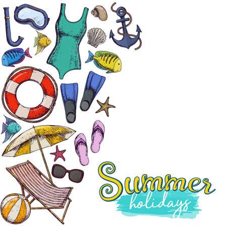 Set of beach summer holidays accessories, sketch cartoon illustration. Vector Illustration