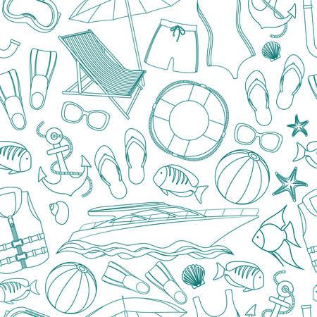Seamless background of beach summer holidays accessories, cartoon illustration. Vector Illustration