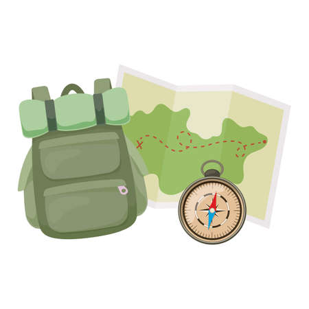 Backpack, map and compass for camping activity tourism, cartoon Vector illustration of travel equipment.