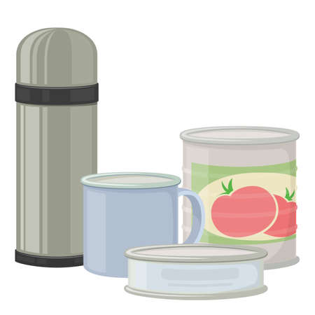 Flask and canned goods for camping tourism, cartoon illustration of travel equipment. Vector