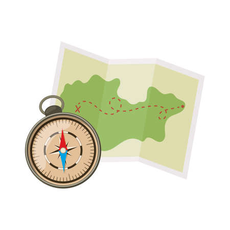 Map and compass for camping tourism, cartoon illustration of travel equipment. Vector Illustration