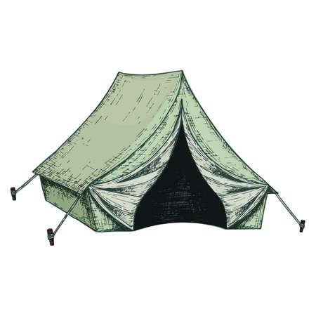 Camping tent for tourism, cartoon sketch illustration of travel equipment. Vector Illustration