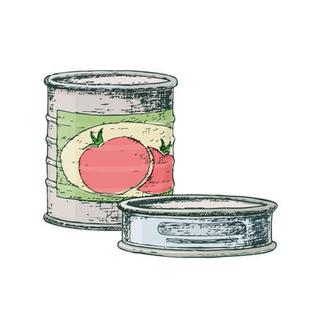 Canned goods for camping tourism, cartoon sketch illustration of travel equipment. Vector Illusztráció