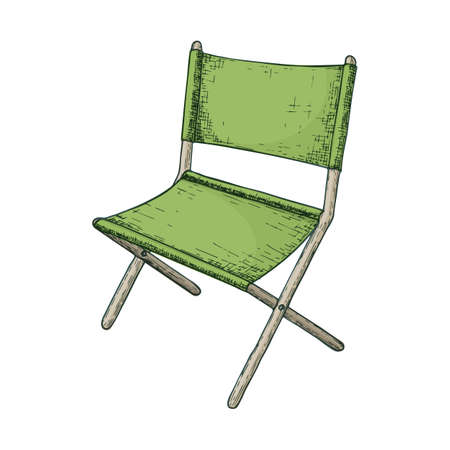Folding chair camping tourism, cartoon sketch illustration of travel equipment. Vector