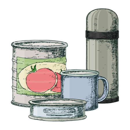 Thermos and canned goods for camping tourism, cartoon sketch illustration of travel equipment. Vector Illusztráció
