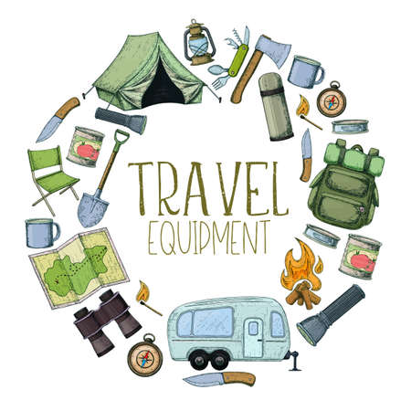 Set of travel equipment. Accessories for camping and camps. Colorful sketch cartoon illustration of camping and tourism equipment. Vector