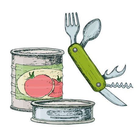 Canned goods and compact knife for camping tourism, cartoon sketch illustration of travel equipment. Vector Ilustracja
