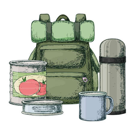 Backpack, canned goods for camping tourism, cartoon sketch illustration of travel equipment. Vector