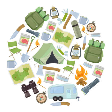 Set of travel equipment. Accessories for camping and camps. Colorful cartoon illustration of camping and tourism equipment. Vector Illustration
