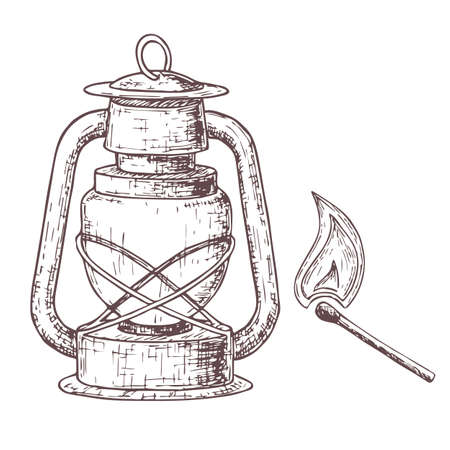 Lamp for camping tourism, cartoon sketch illustration of travel equipment. Ilustracja