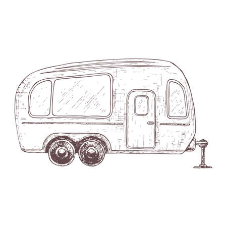 Trailer for camping tourism, cartoon sketch illustration of travel equipment. Vector
