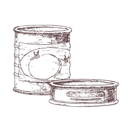 Canned goods for camping tourism, cartoon sketch illustration of travel equipment. Illusztráció