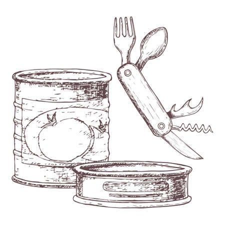 Canned goods and compact knife for camping tourism sketch illustration of travel equipment.