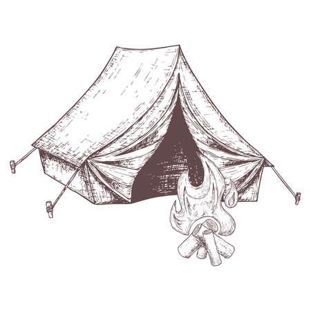Camping tent for tourism and bonfire, cartoon sketch illustration of travel equipment. Vector