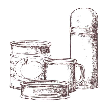 A canned goods for camping tourism, cartoon sketch illustration of travel equipment. Vector