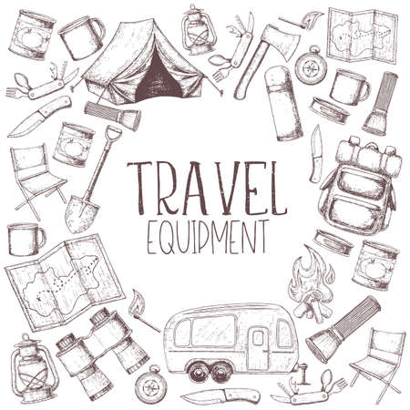 Set of travel equipment. Accessories for camping and camps. Sketch illustration of camping and tourism equipment. Stock Illustratie