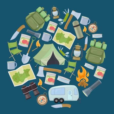 Set of travel equipment. Accessories for camping and camps. Colorful cartoon illustration of camping and tourism equipment.