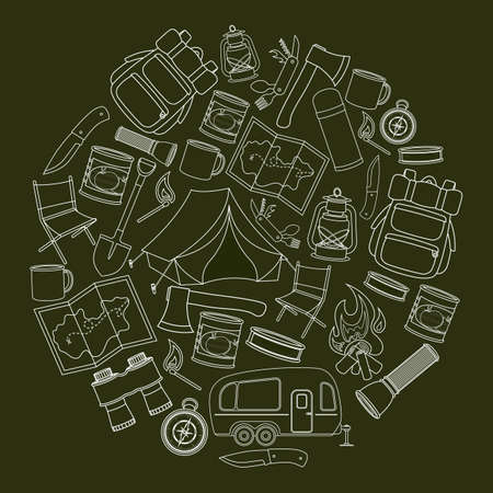 Set of travel equipment. Accessories for camping and camps. Line icons of camping and tourism equipment.