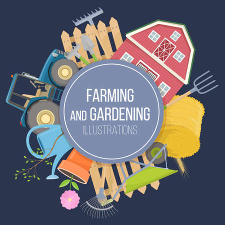Set of colorful farming equipment icons. Farming tools and agricultural machines decoration. Vector illustration.