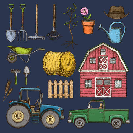 Set of farming equipment icons. Farming tools and agricultural machines decoration, sketch illustration. Vector illustration.